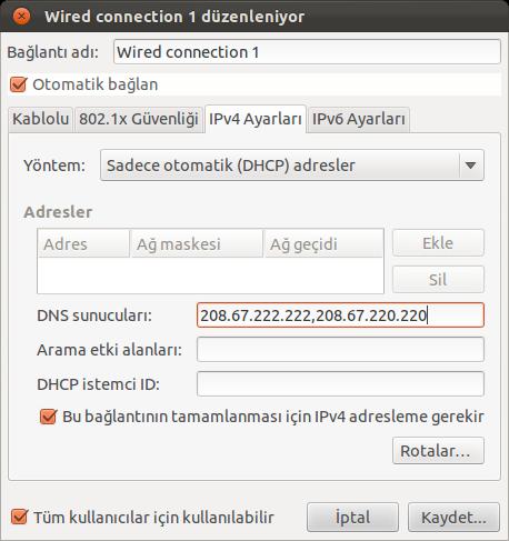 Ubuntu DNS Ayarları Değiştirme