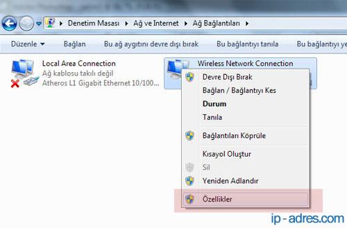 Windows 7 DNS Ayarları Değiştirme