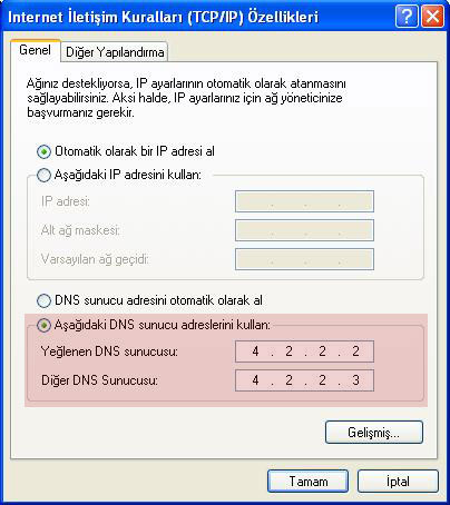 Windows XP DNS Ayarı Değiştirme